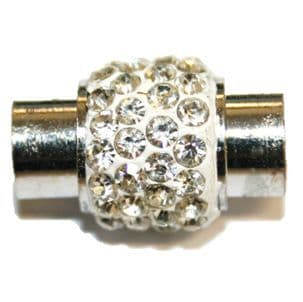 1pce x 18mm*12mm White - clear stone pave crystal magnetic clasps -- rhodium -6mm-03