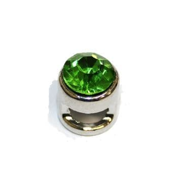 1pce x 9mm Rhodium plated sliding bead with green rhinestone -- S.A -- WC201 -- 4000106
