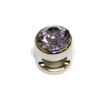 1pce x 9mm Rhodium plated sliding bead with lilac rhinestone -- S.A -- WC201 -- 4000100