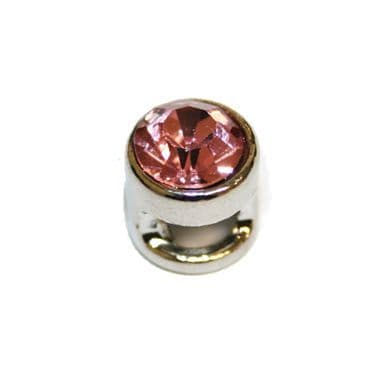 1pce x 9mm Rhodium plated sliding bead with pink rhinestone -- S.A -- WC201 -- 4000118