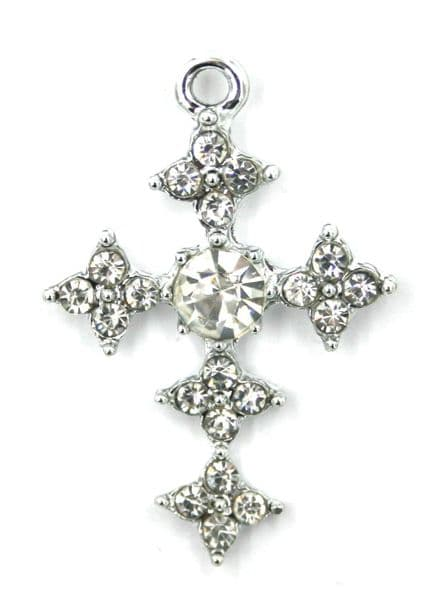 25mm x 36mm Crystal star cross charm