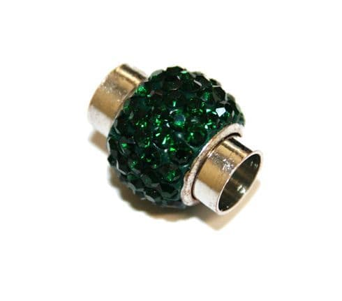 7mm -17mm*14mm Dark green stone pave crystal magnetic clasps -rhodium-7mm
