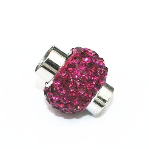 7mm -17mm*14mm Fuchsia pink stone pave crystal magnetic clasps -rhodium-24