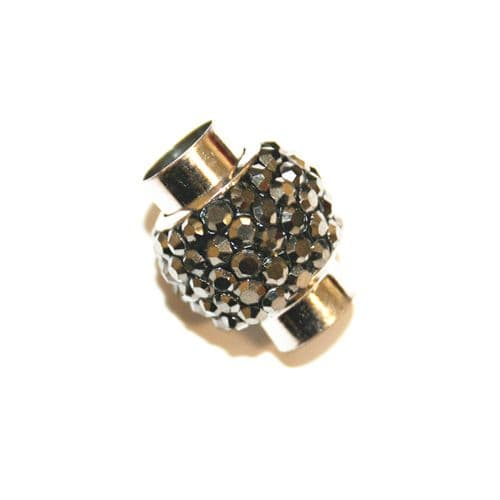7mm - 17mm*14mm Hematite grey stone pave crystal magnetic clasps -- rhodium-02