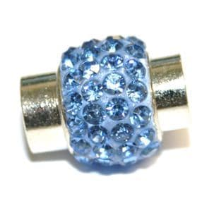 7mm -17mm*14mm Powder blue stone pave crystal magnetic clasps -rhodium-07
