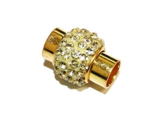 7mm -17mm*14mm yellow colour stone pave crystal magnetic clasps - gold colour - 22