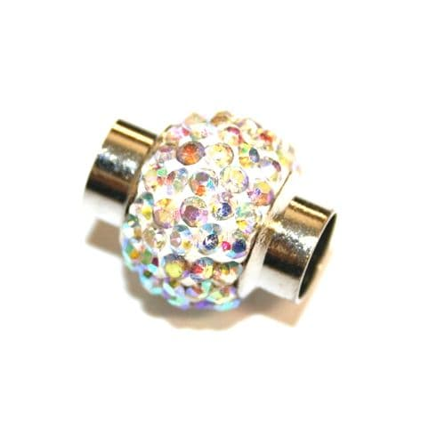 7mm - 17mm x 14mm - clear ab stone pave crystal magnetic clasps - rhodium -- 01