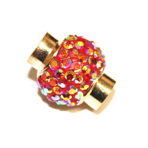 7mm x 17mm*14mm - Red AB stone pave crystal magnetic clasps -- gold