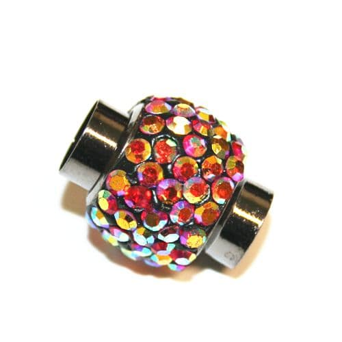 7mm x 17mm*14mm - Red AB stone pave crystal magnetic clasps -- gun metal