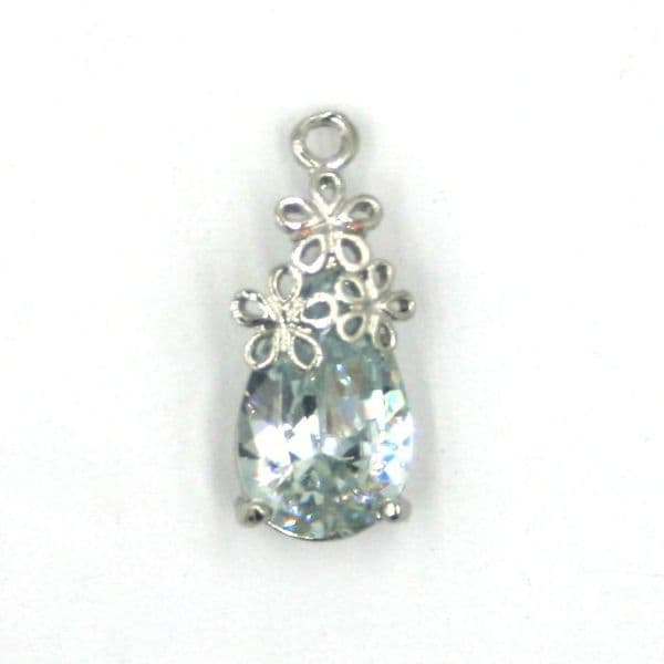 8mm x 19mm Three flower charm with crystal tear drop