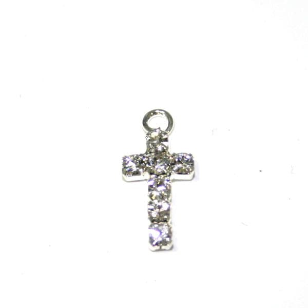 8pces x 15mm silver plated cross with rhinestone - diamante - S.F08 - WC043 - 2503001/3009012