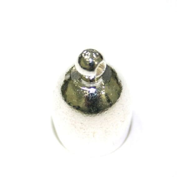 8pces x Silver plated - inside measurement 8mm - end connector with ring - bell shape - 9014006