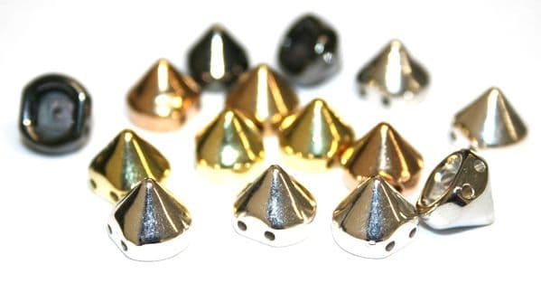 9mm*9mm stud - spike  beads -- with 2 holes