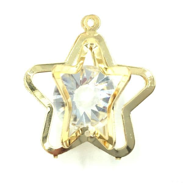 Caged star with crystal inside - 18mm -Gold
