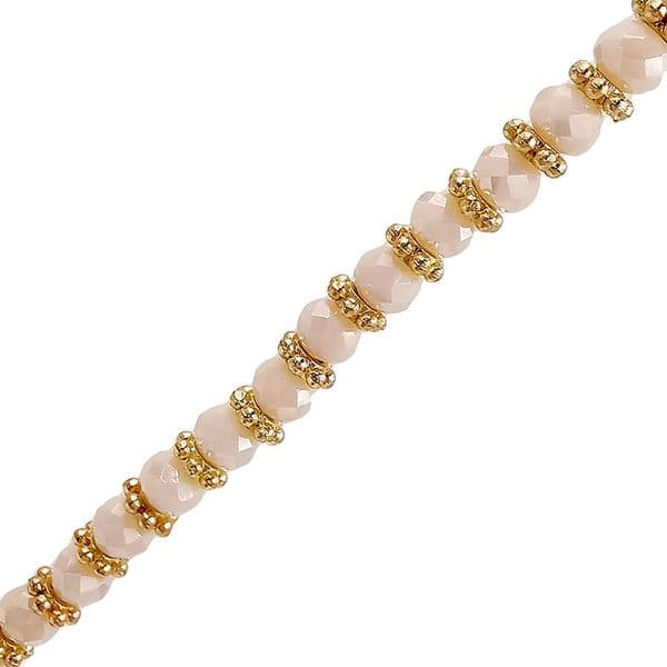 Coated Cream Glass Faceted Rondelle w/ Gold Spacers Necklace