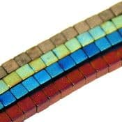 Colour plated  hematite beads