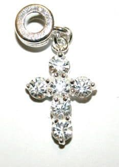 Crucifix Charm And Carrier Silver / Clear
