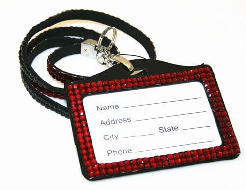Dark red / black bling Lanyard with ID Badge - DLNH005