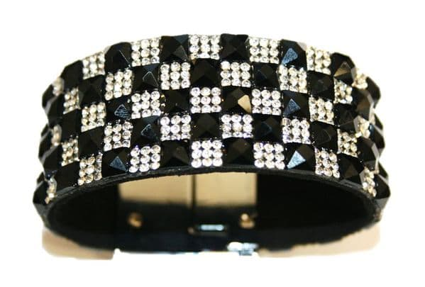 Diamante crystal bling cuff bracelet kit - 10mm faceted black square glass+2mm diamante clear stone -- 5000065kit