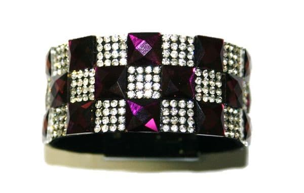 Diamante crystal bling cuff bracelet kit - 10mm faceted purple square glass+2mm diamante clear stone -- c4009039kit