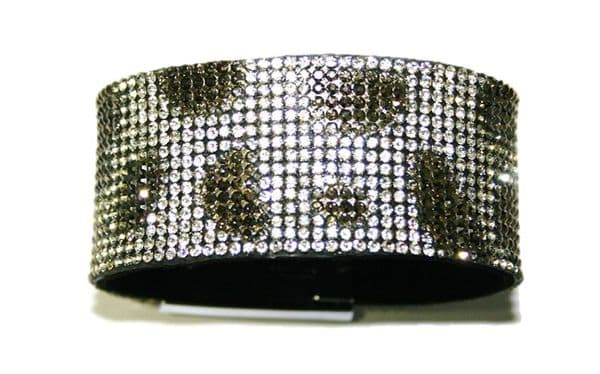 Diamante crystal bling cuff bracelet kit - 25 chatons per squared cm - silver Leopard print -- 5000053