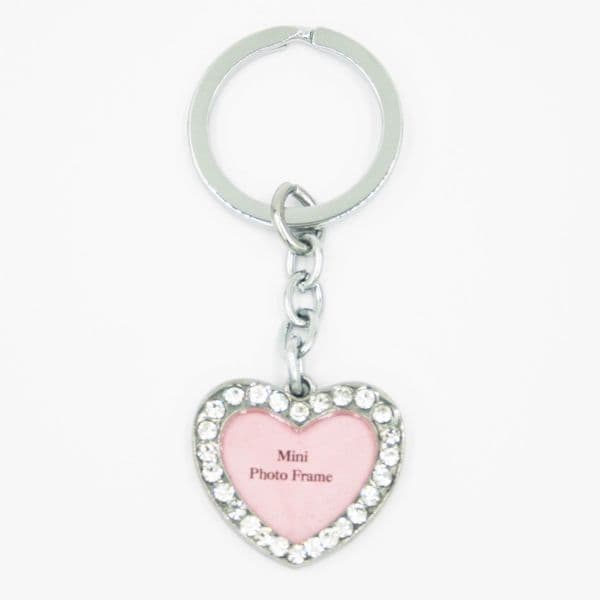 Diamonte love heart key ring