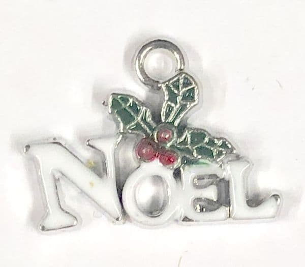 Enamel christmas noel charm white 12mm x 18mm rhodium