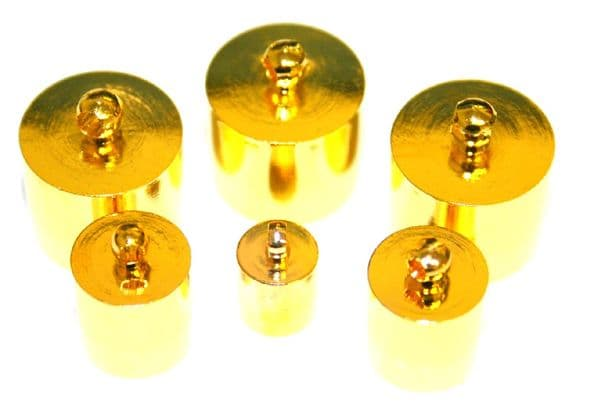 Gold colour barrel end connector - Kumihimo end connector