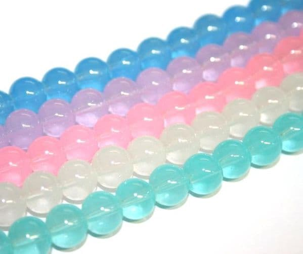 Imitation jade & imitation rose quartz glass beads