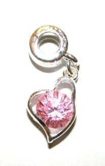 Love Heart Charm And Carrier In Baby Pink