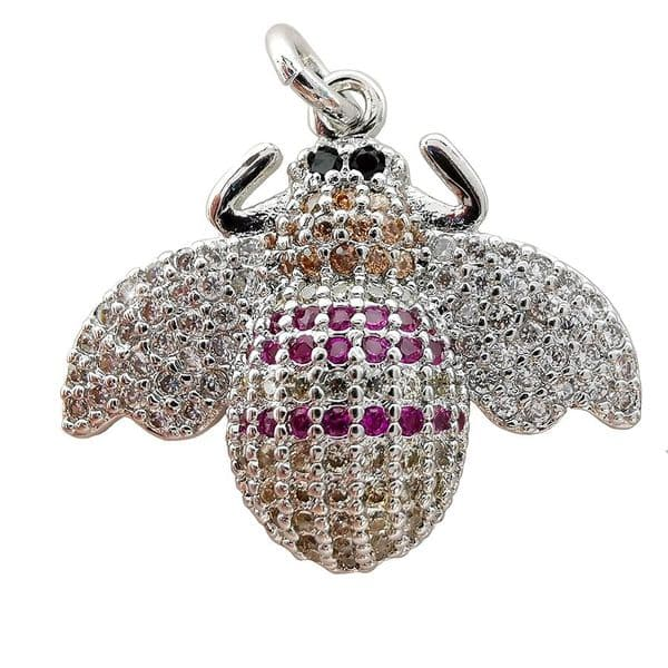 Micro Pave Rhodium Plated Bee Charm Two Front Legs 23x20mm