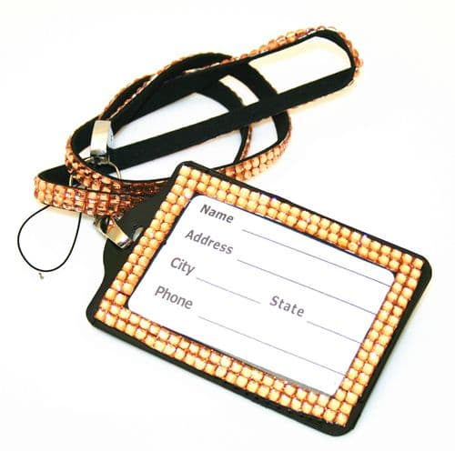Peach bling Lanyard with ID Badge -- DLNV007