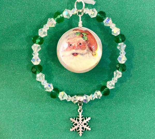 Personalised beaded Christmas tree decoration green/ab CT003