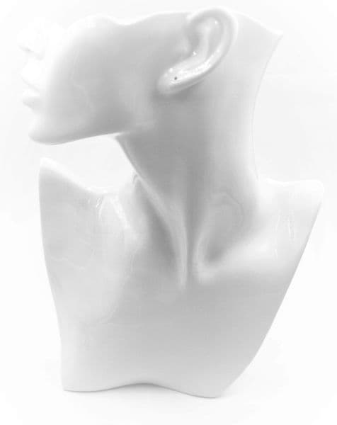 Realistic necklace display bust white