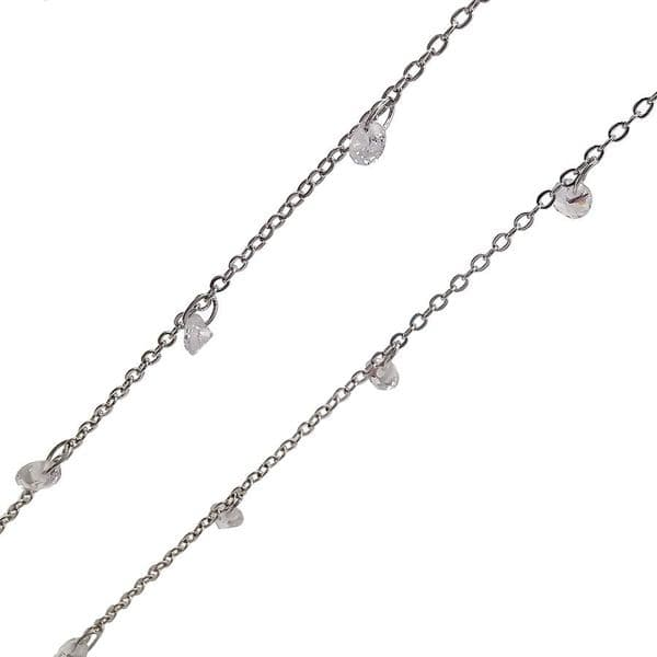 Rhodium Plated 1.5mm width Chain with Clear Crystal Charms
