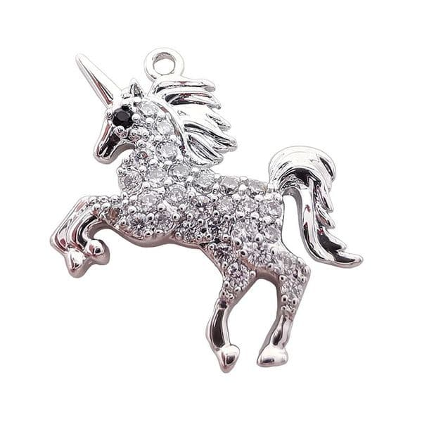 Rhodium Plated Micro Pave Unicorn Charm 13x19mm