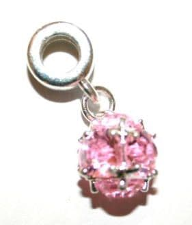 Rounded Faceted Glass Charm And Carrier In Baby Pink