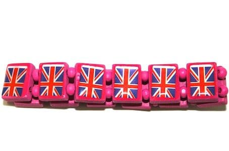Wooden Union Jack Elasticated Bracelets