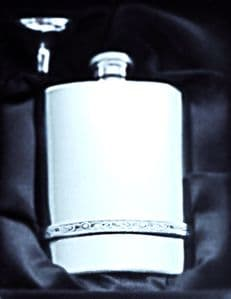4oz Celtic band pewter flask with funnel