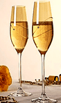 Dartington Pair of Glitz Celebration Gold Flutes in presentation box