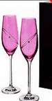 Dartington Pair of Glitz Celebration Ruby Coloured Flute glasses in presentation box