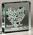 """Flower Heart (Thank you for being my mum) 3""""X3"""""""