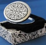 Oval Patterned Mirror - Silver-Plated(Engraving on back)(4 in stock)