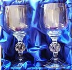 Pair of 5oz Sherry glasses in satin lined presentation box (Includiing engraving on both glasses)