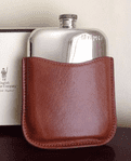 Pewter 6oz purse hip flask with leather pouch. Engraving on pewter flask