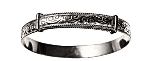 Silver Baby's embossed Expanding Bangle ( BN 45107) Free Engraving Inside.