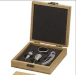 Wood wine set (Engraving on silver plate fixed to box included in price)