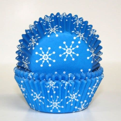 60 PME Blue Snowflakes Baking Cases