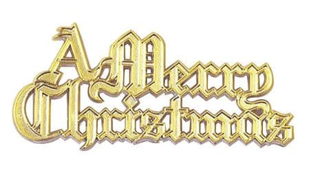 Plastic Merry Christmas Gold Coloured Motto