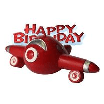 Resin Aeroplane Shaped Cake Topper & Happy Birthday Sign